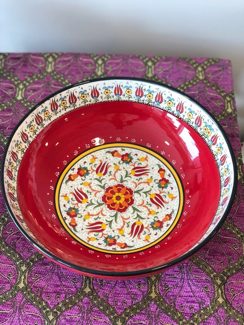 Large Colorful Ceramic Salad Bowl Large Turkish Ceramic Bowl Large Salad Bowl Serving Bowl