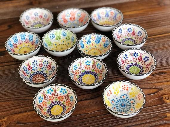 12x Turkish Ceramic Bowls Set of Twelve Small Bowls Colorful Ceramic Bowl Set of Twelve Mezze Serving Bowl Set of Twelve Meze Bowl Set