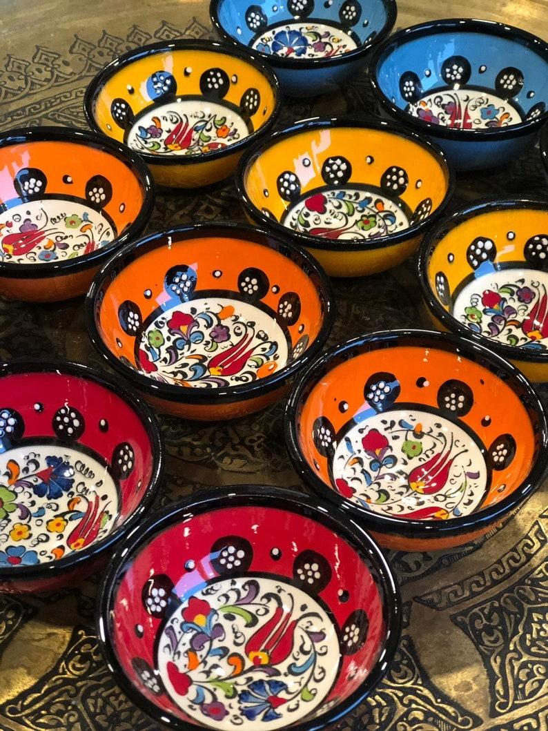 12 x céramique turque bols ensemble de douze, bol en céramique coloré lot de douze, du bol de Meze, mezzés ensemble bol de douze, petits bols de service