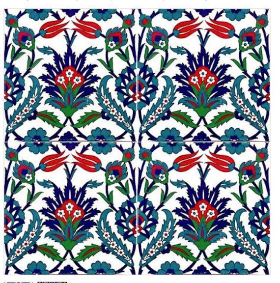 4 X Turkische Keramik Fliesen Satz Von 4 Iznik Keramik Etsy