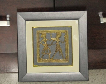 Exclusive Brass Tribal Art Painting, Traditional Tribal Art painting, Enchanting Home Decor