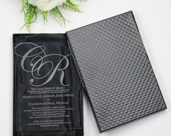 Silk invitation box etsy personalized custom acrylic clear glass luxury wedding formal invitation design complete set suite stopboris Images