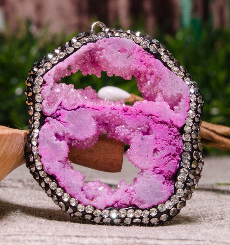 Diamond Plated Druzy Agate Slice,Agate Geode Slice Druzy Pendant,Agate Slices,Jewelry,Necklace,Gift for Her,Geode Druzy Agate Slice,