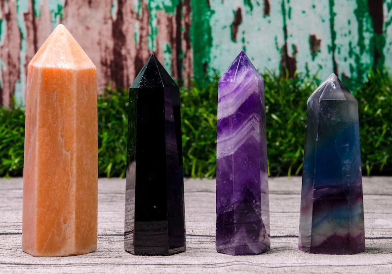 4PC Fluorite Crystal Quartz Point,Black Obsidian Quartz,Chevron Amethyst Quartz Tower,Red Aventurine Quartz Tower,Crystal Tower Point,Chakra
