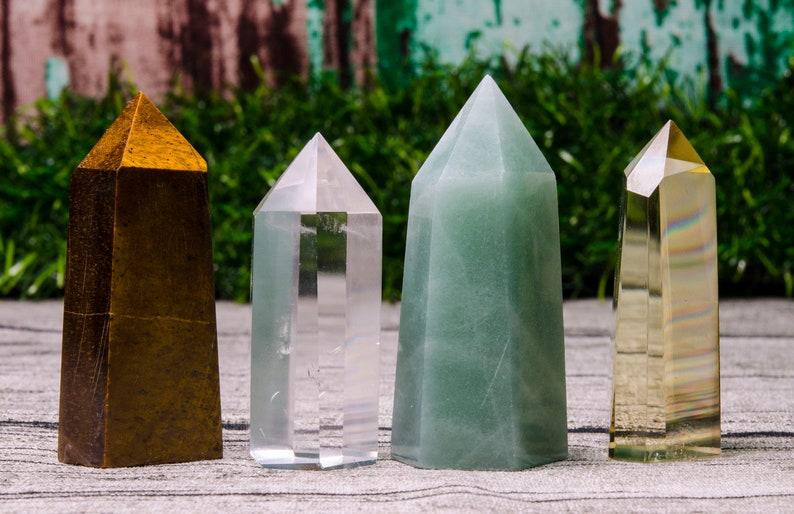 4PCS Clear Crystal Quartz Point,Green Aventurine Quartz,Citrine Quartz Tower,Tiger Eye Crystal Quartz Tower,Crystal Tower Point,Chakra,