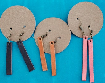 rectangle leather earings