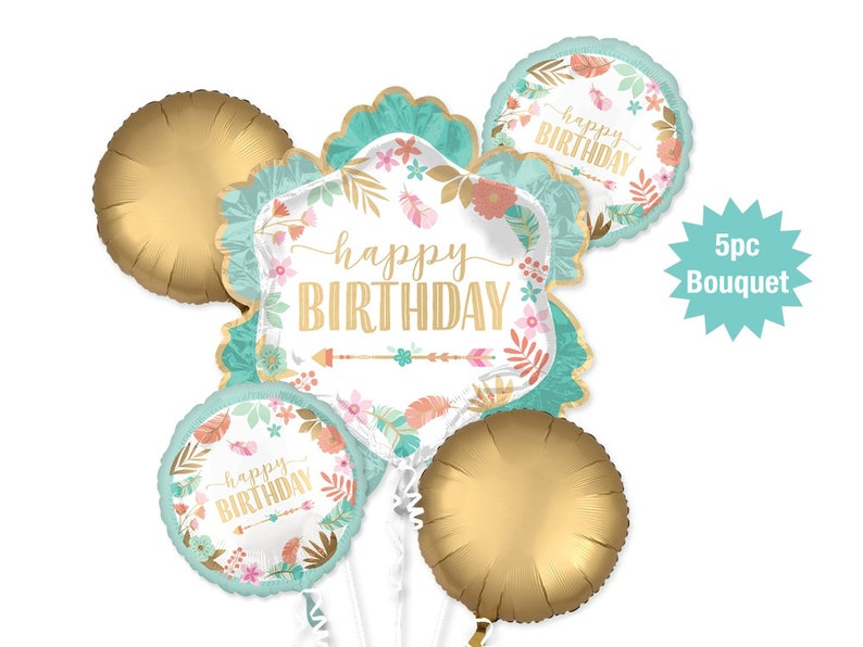 Happy Birthday Balloon Bouquet 5pc Gold And Mint