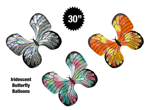 Butterfly Balloon 30 Jumbo Iridescent Butterfly Balloons Holographic Balloons Birthday Party Decorations Garden Party Tea Party Decor