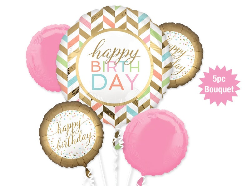 Happy Birthday Balloon Bouquet 5pc Gold And Pink