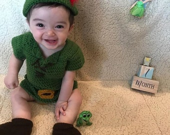79e0107d04c Peter Pan Inspired Costume  Peter Pan Crochet Outfit Disney Inspired Photo  Prop Newborn to 24 Months- MADE TO ORDER