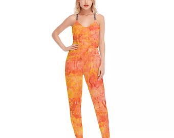 Hotwife V-neck Cami Jumpsuit - orange watercolor hotwife design