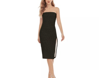 Queen of Spades Super Sexy Side Split Tube Top Dress - qofs motif in gold on black. Hotwife dress.