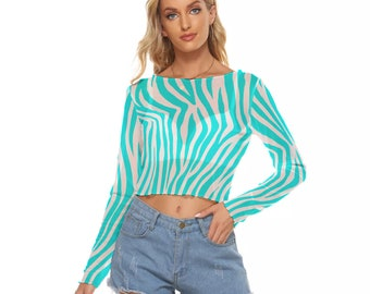 Queen of Spades Hotwife Mesh Long Sleeves T-shirt - queen of spades design in turquoise stripes