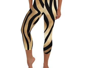 Hotwife Zebra Capri Leggings - gold-colored stripes with hotwife design, on black. Ideal gift for a sexy hotwife.