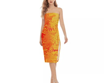 Hotwife Sexy Side Split Tube Top Dress, turbulent rainbow design with hotwife text
