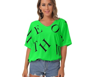Hotwife Bat Sleeves V-Neck Blouse - Hotwife letters design in black  on hot green background. Totally personalizable.