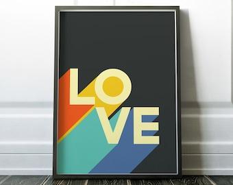 Retro 70s LOVE Typography Print, Funky Wall Art, Color Block, Retro Letters Poster, 1970s Inspired Decor, Pop Art, PRINTABLE Digital Design