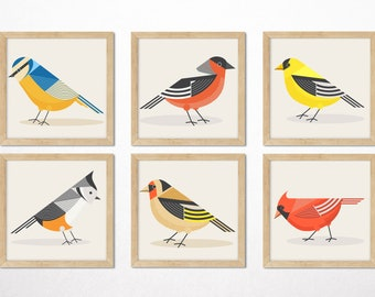 Garden Birds 6 Art Prints, Retro Minimalist Geometric Mid Century DIGITAL,Bird Wall Art,Cardinal,GoldFinch,Bullfinch,BlueTit,Tufted Titmouse