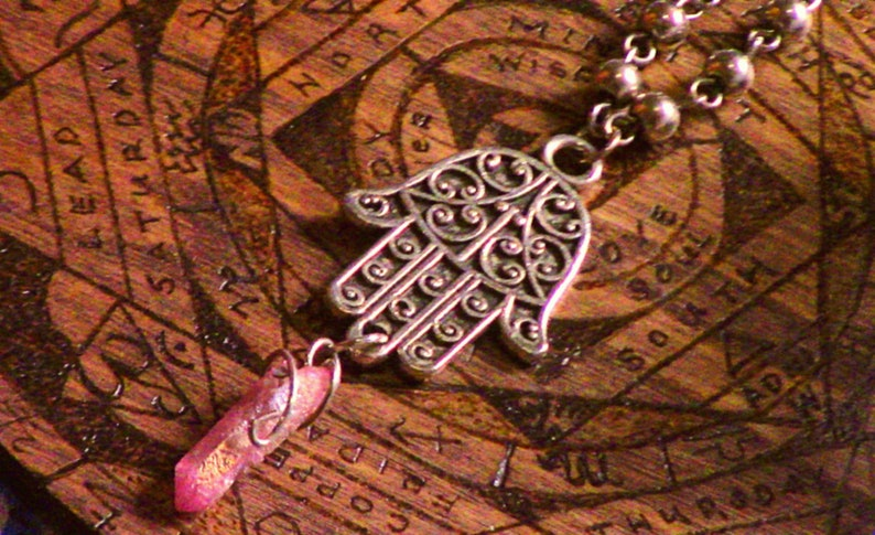 Bodhi Hamsa Sunset Aura Talisman Necklace for Meditation /& Prayer