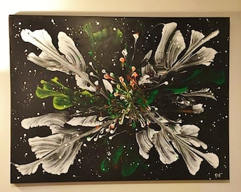 Painting white flowers on a black background
