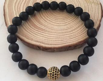 8mm Black Lava Bracelet, Mens Lava Bracelet, Black Lava Stones, Lava Rock, Mens Beaded Bracelet, Black Mens Bracelet