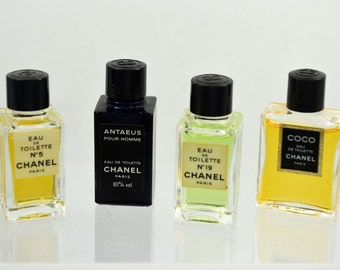 43414e933 Nice lot of 4 vintage Chanel miniature perfume bottles, Chanel no 19, Chanel  no 5, Coco Chanel and Chanel Antaeus