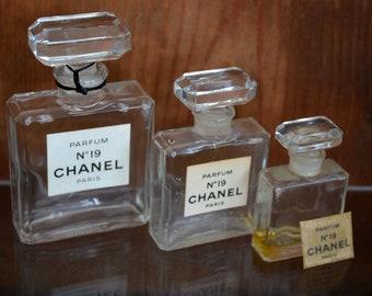 Lot of 3 vintage Chanel nr. 19 perfume bottles