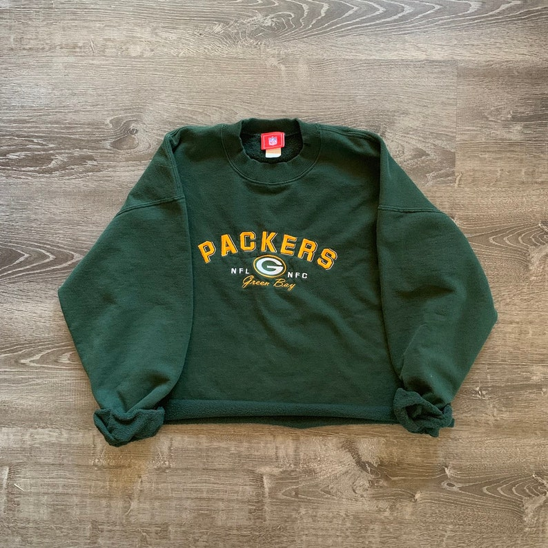 Vintage EMBROIDERED Green Bay PACKERS NFL Cropped Pullover image 0