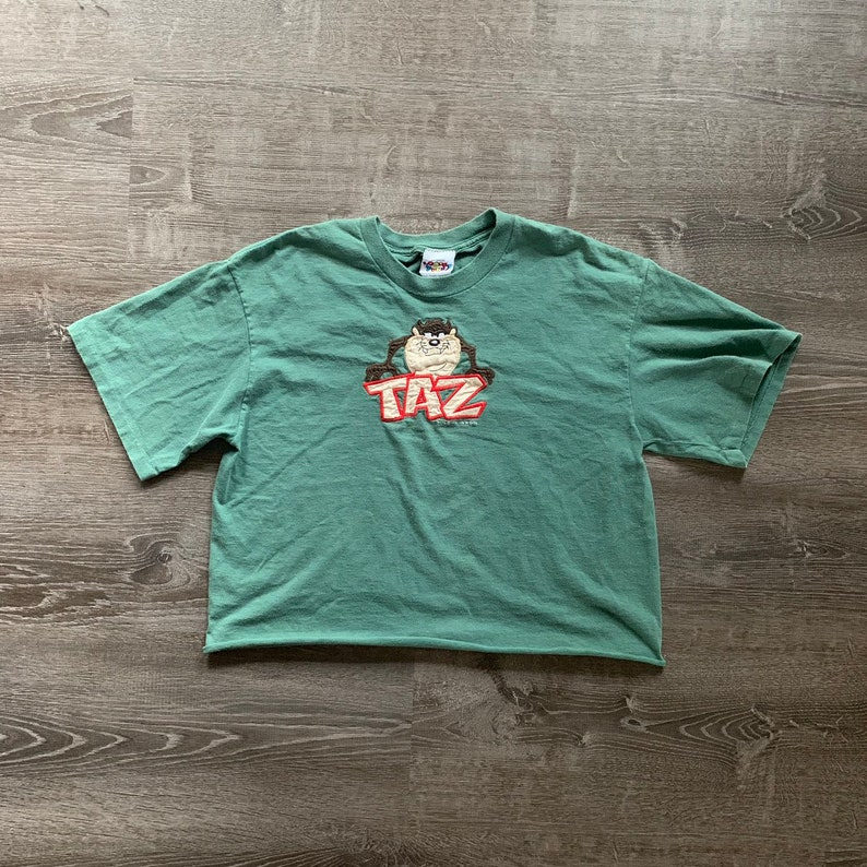 RARE Vintage EMBROIDERED TAZ Looney Tunes Crop Top image 0