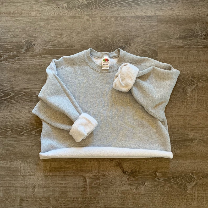 PLAIN Solid GRAY Cropped Pullover Sweatshirt // Crop Top image 0