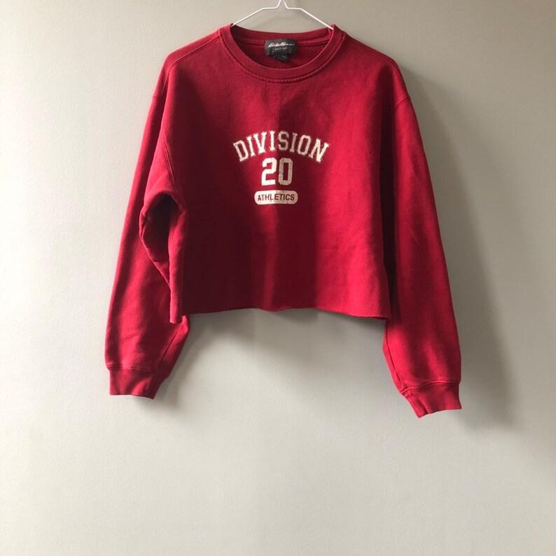 Vintage Eddie Bauer Crop Top Sweatshirt // RED EDDIE BAUER image 0