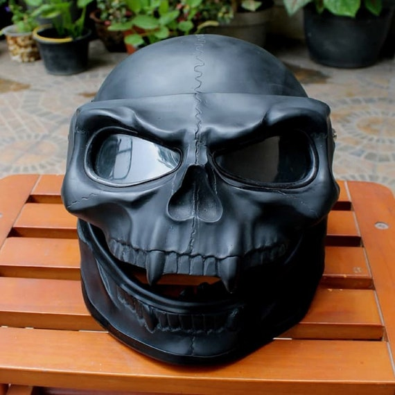 Skull Skeleton Visor Flip Up Motorcycle Helmet GHOST RIDER Open Face Airbrush