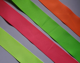 Neon Green 1.5 x 50 Yards Fluorescent Neon Satin Ribbons Gift Wrapping Craft Projects Weddings