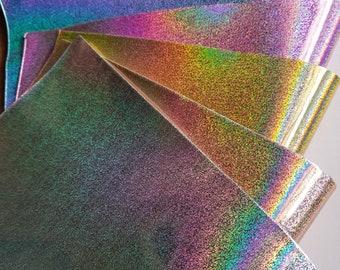 Holographic Iridescnet Mosaic pattern  Faux Sheet A4 Size 0.8mm thick Vinyal sheet