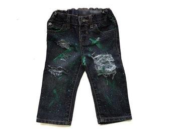 Boys Distressed Denim, Boys Painted Jeans, Boys Skinny Jeans, Boys Distressed Jeans, Hand Painted Jeans, Boys Denim, Jeans, Painted Denim