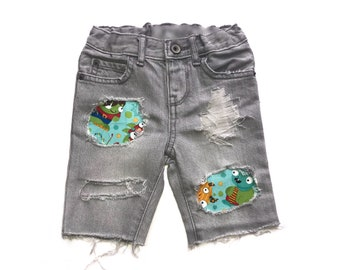 Boys Distressed Denim, Boys Patched Jeans, Boys Jean Shorts, Boys Distressed Denim Skinny Jeans, Boys Denim, Boys Shorts, Distressed Denim