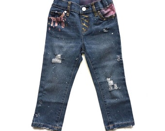 Girls Distressed Denim, Girls Painted Jeans, Girls Skinny Jeans, Girls Distressed Jeans, Hand Painted Jeans, Girls Denim,Jeans,Painted Denim