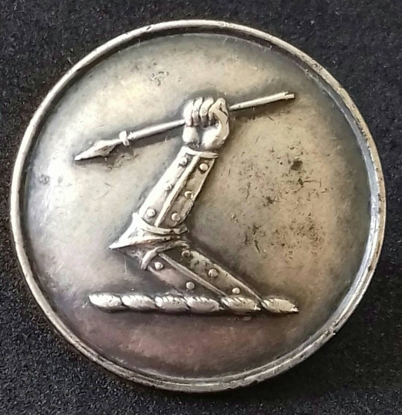 Antique Silver Plate Livery Button to Laybourne Family Arm Erect Grasping Spear 25.5mm by Firmin