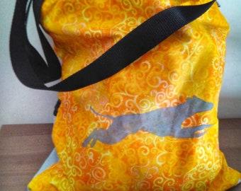 Greyhound tote bag. Work bag shoulder bag. greyhound shilouette