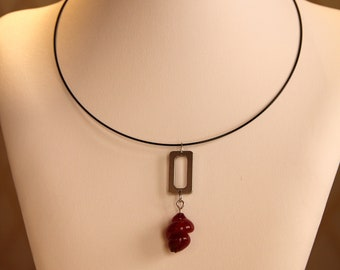 Handmade red pearl necklace made of Murano glass