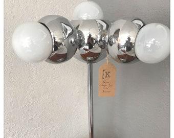 Mid Century Modern Retro Chrome Ball 5 Bulb Table Lamp