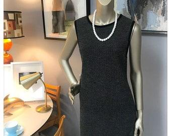 507d80a7219 Vintage Retro Black and Ivory DKNY Knit Sleeveless Size Large Sweater Dress