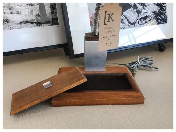 Lampe de bureau réglable rétro vintage en bois et métal