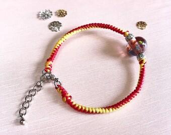 dotty glass bead woven bracelet