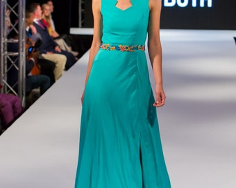 Mint Green Gown with Handmade Embroidery