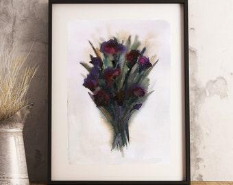 Carnation Art Print, Purple Carnations, Watercolor Painting, 8x10 Archival Print, Flowers - Carnation Bouquet
