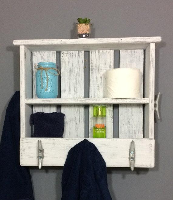 Coastal White Shelves For Towels White Coastal Bathroom Shelf Towel Hooks Shelf With Cleats Reclaimed Wood White Open Shelving Unit