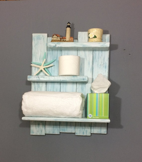 Bathroom Shelving Coastal Decor Shelf Aqua Stain Shelves Reclaimed Pine Beach Shelf Over Toilet Shelf White Coastal Shelf White Shelf