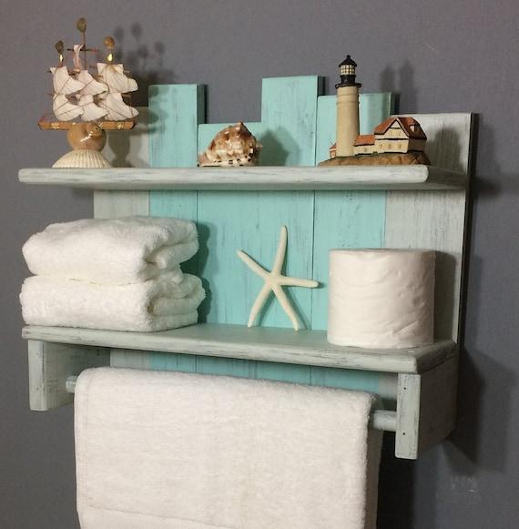 Bathroom Wall Shelf With Towel Bar Nautical Towel Rack With Rod Beach Shelf For Towels Bathroom Shelves And Bar Bathroom Storage Shelves