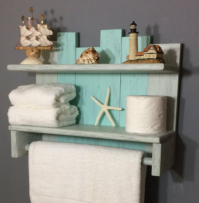 Bathroom Wall Shelf With Towel Bar Nautical Towel Rack With Etsy